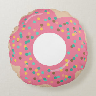 Pink Frosted Doughnut with Sprinkles Round Pillow