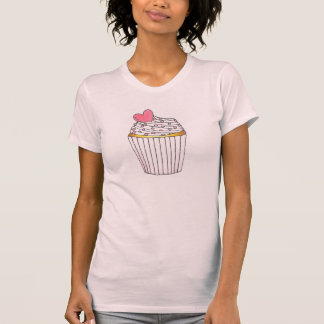 Pink Frosted Heart Cake Cupcake Sprinkles Tee