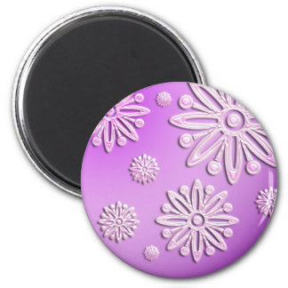 pink frosted snow flakes round sticker fridge magnets