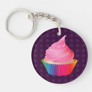 Pink Frosting Rainbow Vanilla Party Cupcake Key Ring