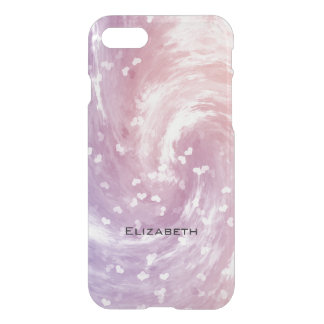 pink frosty pastels swirling hearts iPhone 7 case