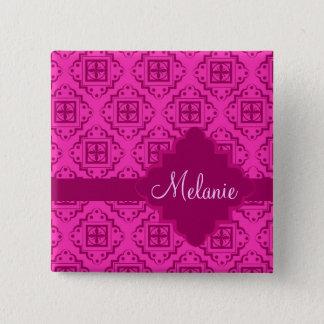Pink Fuchsia Arabesque Moroccan Graphic 15 Cm Square Badge