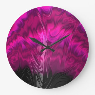 Pink fuchsia black 3D texture abstract art clock