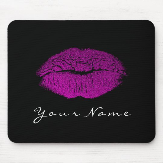 Pink Fuchsia Black White Name Makeup Lips Kiss Mouse Pad