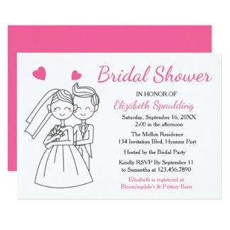 Pink Fuchsia Bridal Shower Bride & Groom Wedding 13 Cm X 18 Cm Invitation Card