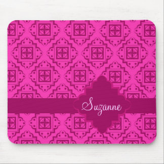 Pink Fuchsia & Magenta Arabesque Moroccan Graphic Mouse Pad