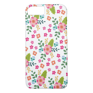 Pink Fuchsia Spring Flower Pattern, Girly Floral iPhone 7 Case