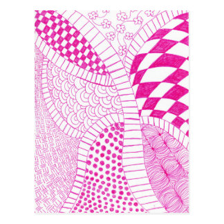 Pink Fuchsia Zen Doodle Drawing Postcard