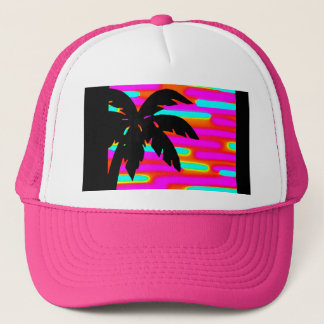 PINK FUNKY SUNSET PALM TREE BALL CAP/HAT TRUCKER HAT