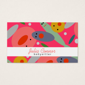 Pink Funny Colorful Bubble Faces Babysitter Card