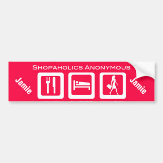 Pink Funny Shopaholic Eat Sleep Shop Award Bumper Sticker