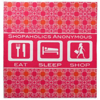 Pink Funny Shopaholic Eat Sleep Shop Award Printed Napkins