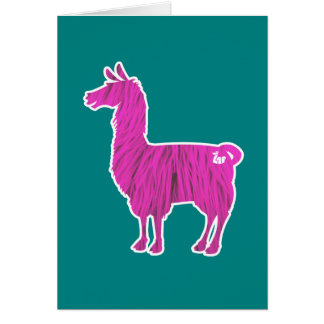 Pink Furry Llama Greeting Card