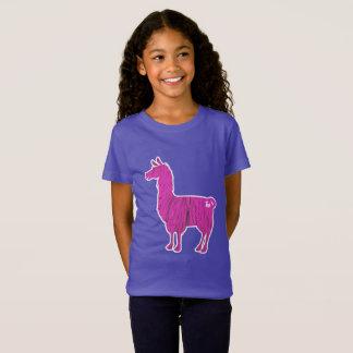 Pink Furry Llama Kids T-Shirt