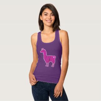 Pink Furry Llama Ladies Tank Top