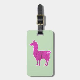 Pink Furry Llama Luggage Tag
