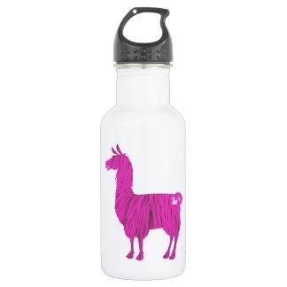 Pink Furry Llama Water Bottle