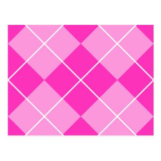 Pink & Fuschia Argyle Postcard