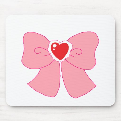 Pink Fuzzy Heart Bow Mouse Pad