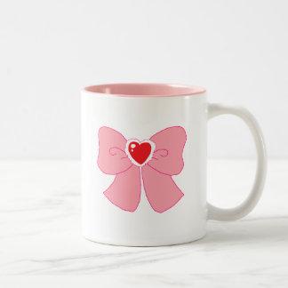Pink Fuzzy Heart Bow Two-Tone Mug