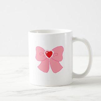 Pink Fuzzy Heart Bow Basic White Mug