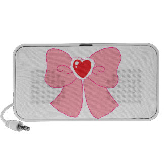 Pink Fuzzy Heart Bow PC Speakers