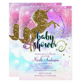 Pink Galaxy Magical Unicorn Sparkle Baby Shower Card