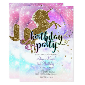 Pink Galaxy Magical Unicorn Sparkle Birthday Party Card
