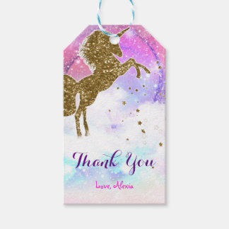 Pink Galaxy Magical Unicorn Sparkle Birthday Party Gift Tags