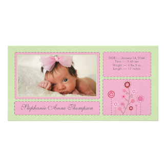 Pink Garden Baby Girl Birth Announcement PhotoCard Card