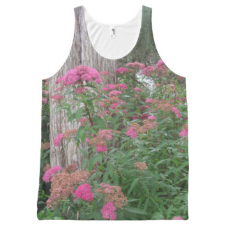 Pink Garden Flowers All-Over Print Singlet