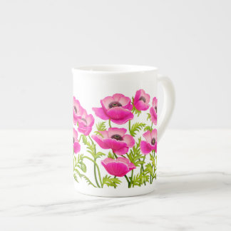 Pink Garden Poppy Flowers Bone China Mug