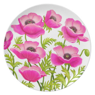 Pink Garden Poppy Flowers Plate