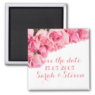 Pink Garden Roses Save the date Magnets