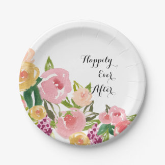 Pink Garden Watercolor Floral Paper Plate