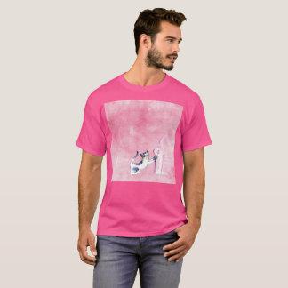Pink Gato Cat Stretch Art Watercolor Rare T-Shirt