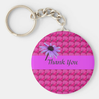 pink gem stones and daisy flower thank you key chain