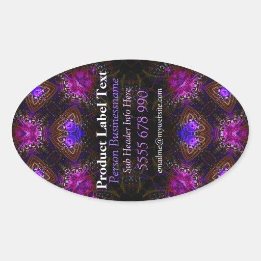 Pink Gems Fractal Art Vertical Product Label Stick Sticker