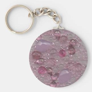 Pink Gems Basic Round Button Key Ring