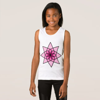 Pink Geometric Flower Girls Tank Top
