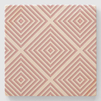 Pink Geometric Squares Stone Coaster