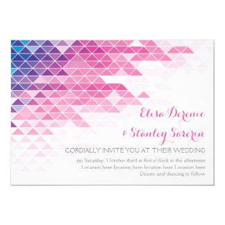 Pink geometric triangles modern wedding card