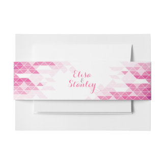 Pink geometric triangles modern wedding invitation belly band
