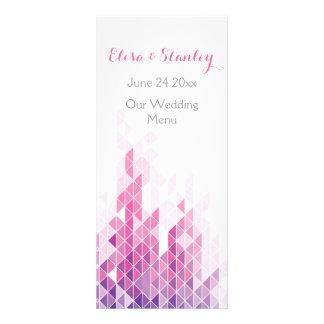 Pink geometric triangles modern wedding menu card rack card template