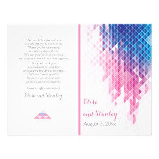 Pink geometric triangles modern wedding program 21.5 cm x 28 cm flyer