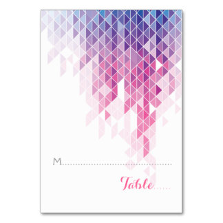 Pink geometric triangles wedding folded place card