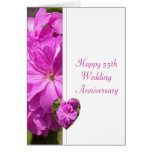 Pink Geranium 55th Wedding Anniversary Greeting Card