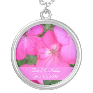 Pink Geraniums Flower Necklace