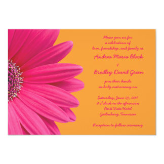 Pink Gerber Daisy and Orange Wedding Invitation