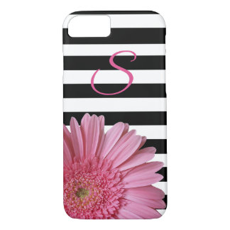 Pink Gerber Daisy and Stripes iPhone 8 Case